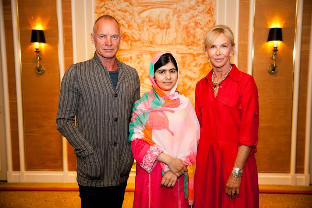Sting, Malala Yousafzai, Trudie Styler