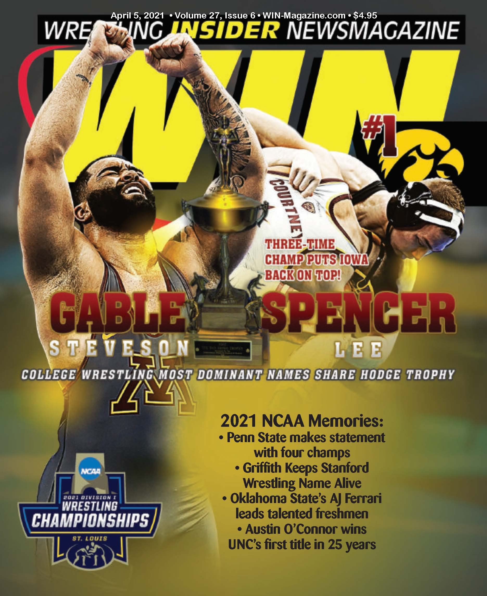 April 5th, 2021 WIN Magazine Cover of Gable Steveson and Spencer Lee