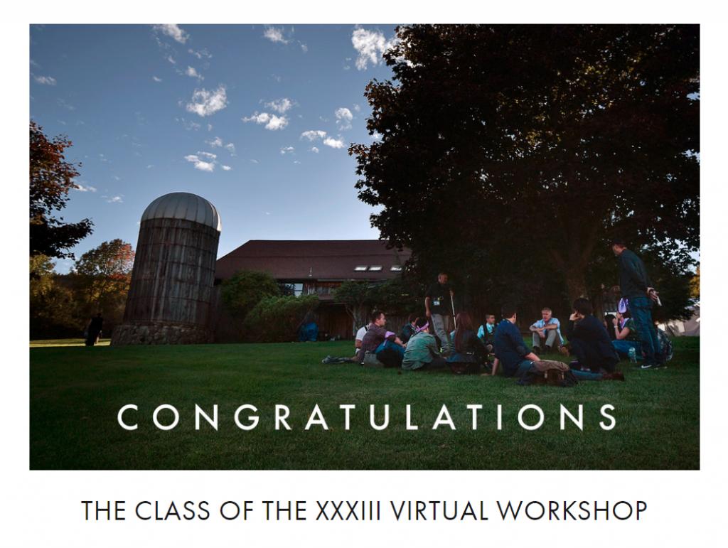 Screenshot of Eddie Adams Workshop website Congratulating the class of the XXXIII Virtual Eddie Adams Workshop.