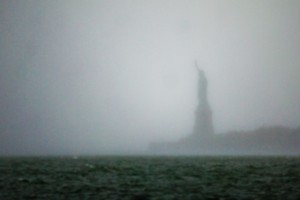Statue of Liberty during Hurricane Sandy.